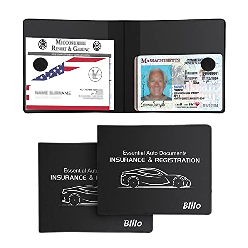 Car Registration and Insurance Card Holder, 2 Pack Leather Vehicle Glovebox Paperwork Organizer for Document Cards Driver's License, Key Contact Information Cards and More