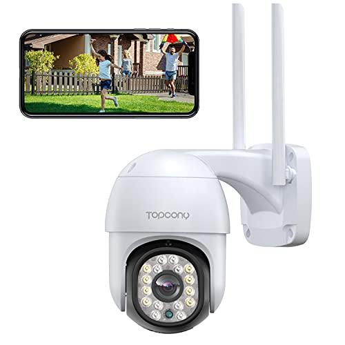 Cámara de Vigilancia Exterior, Topcony 1080P Cámara de Seguridad WiFi con Detección de Movimiento, Audio Bidireccional, Visión Nocturna en Color de 30M, Adecuado para Garaje, Jardín y Granja