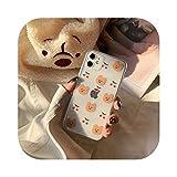 レトロな桜のクマの手紙カップルかわいい電話ケースFor iphone 11プロMAX X XS XRケースシリコーンカバーFor iphone 7 8 6プラスケース-02-For iphone XR