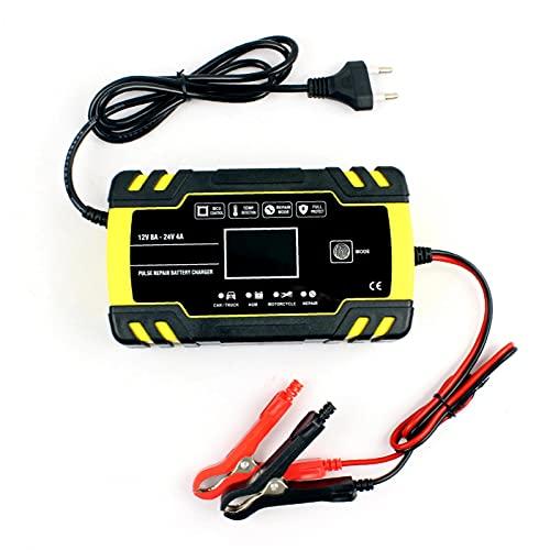 Murezima Cargador de batería de automóviles, 12V 24V 8A Pantalla LCD Motocicleta automática Cargador de 3 etapas, Estilo 1 Construido en la protección del Circuito