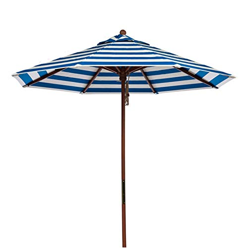 Sombrilla Terraza Parasol Jardin Sombrilla Rayas con Poste de Madera, Parasol de Jardín de Patio de 2,7 M, Sunbrella Portátil para Exterior/Patio Trasero/Piscina/Mercado (Color : Blue)