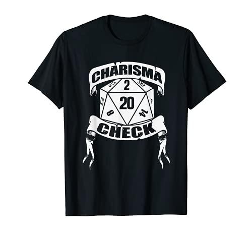 Divertido Chequeo de Carisma Natural 20 D20 Juegos de Rol Camiseta
