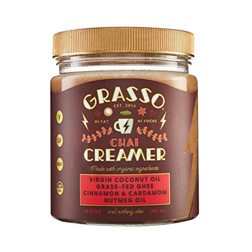 Grasso Chai Creamer (previously Coffee Booster) | The Original High-Fat Coffee Creamer | Keto Friendly | Coconut Oil, Ghee, Cinnamon, Cardamom, Nutmeg Oil