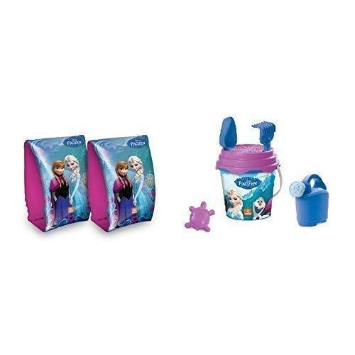 Lively Moments Strandeimerset Disney Frozen - die Eiskönigin in blau-lila 6-teilig & passende Schwimmflügel