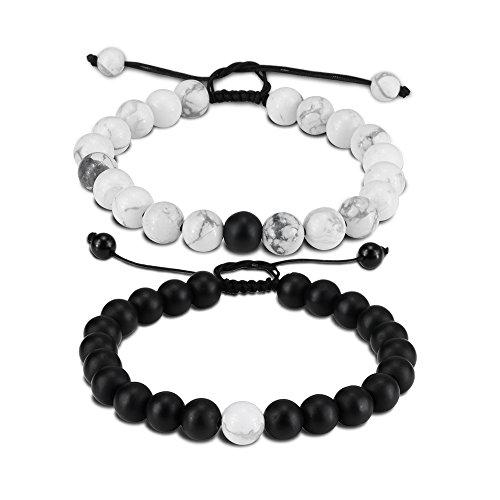 Distance Bracelet Enjoit Black Matte Agate & White Howlite Energy Stone Beads Bracelet Set Couple Jewelry (Black 2 Braided)