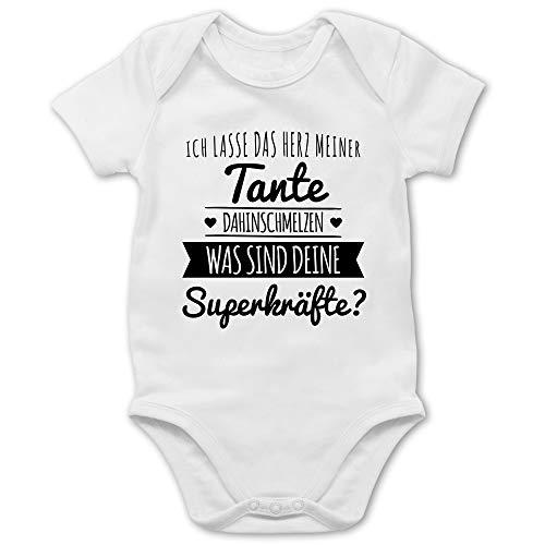 Shirtracer Sprüche Baby - Tante Herz dahinschmelzen - 3/6 Monate - Weiß - Babybodys Tante - BZ10 - Baby Body Kurzarm für Jungen und Mädchen