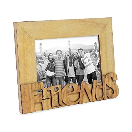 """Isaac Jacobs Natural Wood Sentiments """"Friends"""" Picture Frame, 4x6 inch, Photo Gift for Friend, Display on Tabletop, Desk (Natural, 4x6)"""