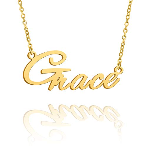 BUREI Name Necklace Big Initial Gold Plated Best Friend Jewelry Women Gift for Her Grace