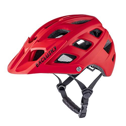 Exclusky Jugend-Fahrradhelm, Mountainbike-Helm, Kinder-Fahrradhelm, leicht befestigtes Visier, verstellbar, für Jungen und Mädchen, 54–57 cm (Alter 8–14 Jahre), Rot