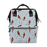 TIZORAX Winter Birds Retro Cardinals Mochila para pañales de gran capacidad, bolsa multifunción, bolsas de pañales de viaje para mamá para el cuidado del bebé