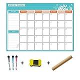 R-WEICHONG - Calendario adesivo, lavagna magnetica cancellabile, 3 pennarelli di precisione e gomma magnetica, cancellabile a secco Multicolore.