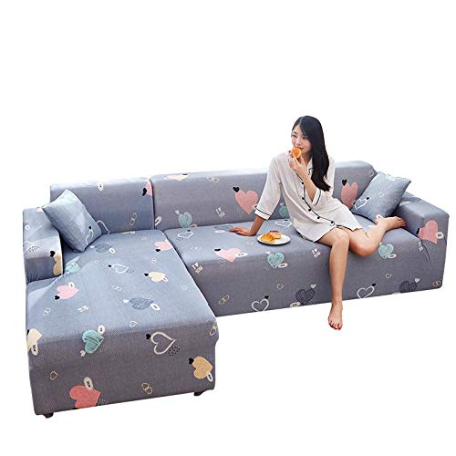 TLYMTD Funda Sofa Chaise Longue Brazo Izquierdo Funda de sofá con Estampado para el hogar, Funda de sofá Universal elástica Universal con Todo Incluido para Cuatro Personas (235-300cm) Gray-Love