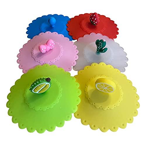 Tapa de taza de silicona Cubierta de Taza de Antipolvo, Tapas Silicona para Tazas Reutilizables para Tazas de Café y té, Tapas de La Taza de La Bebida del Silicón 6 piezas