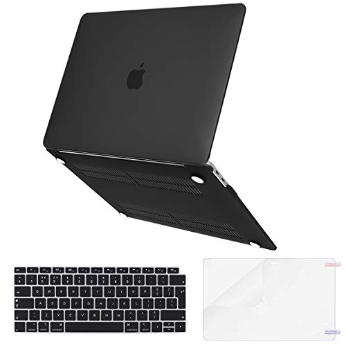 Lvtree MacBook Air 13 inch Case 2019 2018 Release A1932,Soft Touch(Newest Version) Plastic Hard Shell,Keyboard Cover,Screen Protector for MacBook Air 13 with Retina Display Touch ID, Black