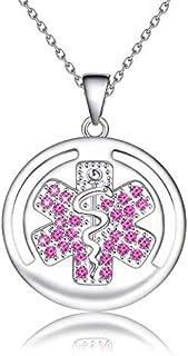 قلادة KUIYAI للتنبيه الطبي ID EMT مع زركونيا مكعب هدية مسعفين طبية طوارئ هدية مجوهرات كاديسيوس التمريض