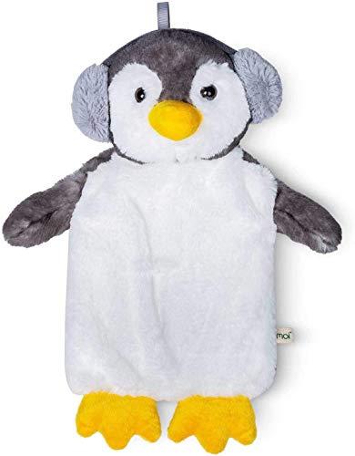 Premium Kinder Wärmflasche 1 Liter mit schönem weichem Kunstpelz Bezug, Bettflasche aus Naturgummi, Wärmekissen, verschiedene Modelle- TÜV Rheinland getestet - neues Modell (Pinguin)