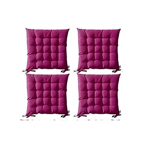Lot de 4 Galettes de chaise à assise matelassée unie - Rose - 40x40x5cm - Today