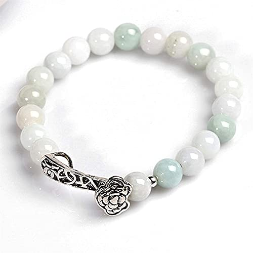 GIAOYAO Feng Shui Good Luck Bracelets for Men Women Natural Genuine Jade S925 Sterling Silver Ruyi Bracelet Feng Shui Lucky Chinese Gifts for Healing Attract Money for Good Fortune Courageous Wealth