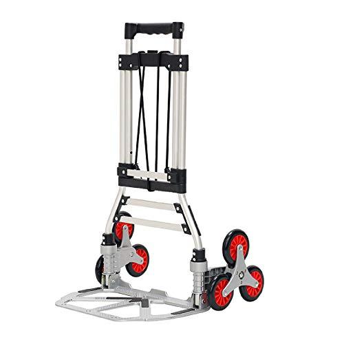 XJZKA Carro Triciclo Plegable, Carro telescópico aleación Aluminio Mango extendido Peso 50 kg Antideslizante Resistente Desgaste se Puede Utilizar para Transporte Campamento Familiar