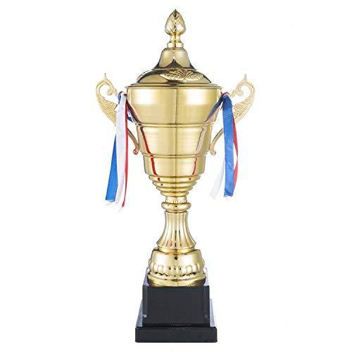 GOODS+GADGETS Gold Pokal XXL Siegerpokal mit Deckel 36 cm - Sieger Trophäe Personalisierbar