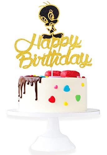 Cartoon Tweety Happy Birthaday Cake Topper - Celebrate Baby Shower Adorable Looney Tunes Glitter Tweety Bird Cake Décor - Kids Birthday Little Girl Boy Birthday Party Decoration