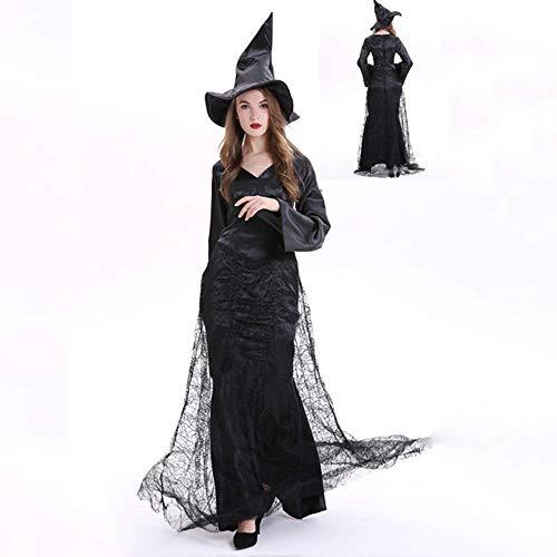Gogh volwassen vrouwen sexy heks dress up inclusief zwart strak jurk en heks hoed geschikt voor halloween kwaad heks rol cosplay kostuum plus grootte