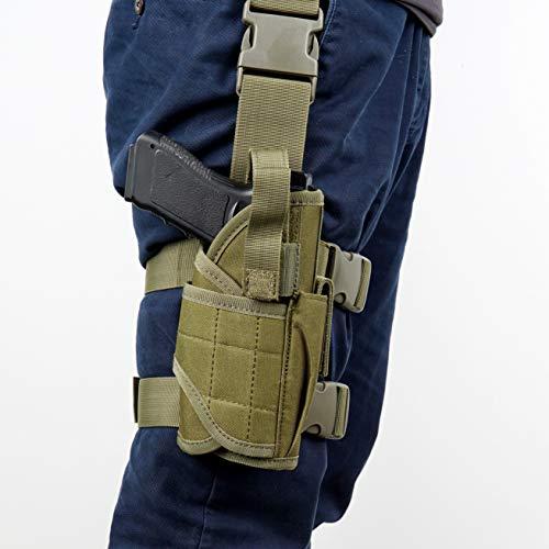 YOCOOL Fondina Pistola Gamba Tattica per Coscia Tattica Airsoft Combattimento Regolabile Appeso destra Universale con portariviste per Beretta, cachi