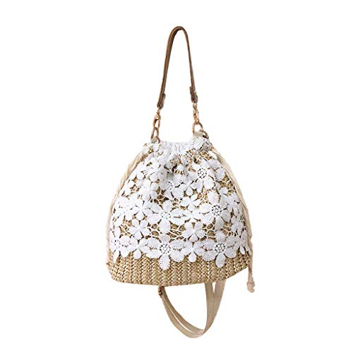 Snowlike Girls Bags For Ladies, Women Beach Flower Straw Bucket Bag Burlap Square Bag Messenger Bag Crossbody Bag (C)