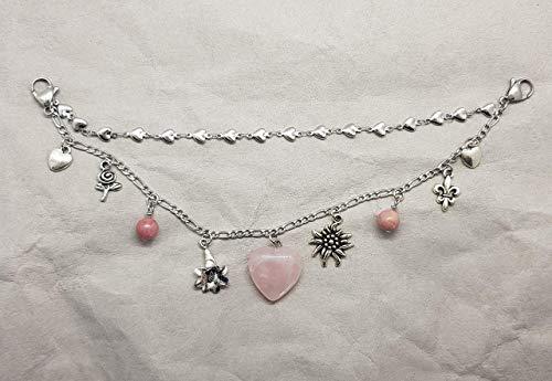 Charivari 22 cm rosa Rosenquarz oder Tigerauge zweireihig Damen Mädchen Rose Oktoberfest Lederhose Dirndl Enzian Fleur de Lis Edelstein Edelstahl Edelweis handgemacht in Bayern handmade