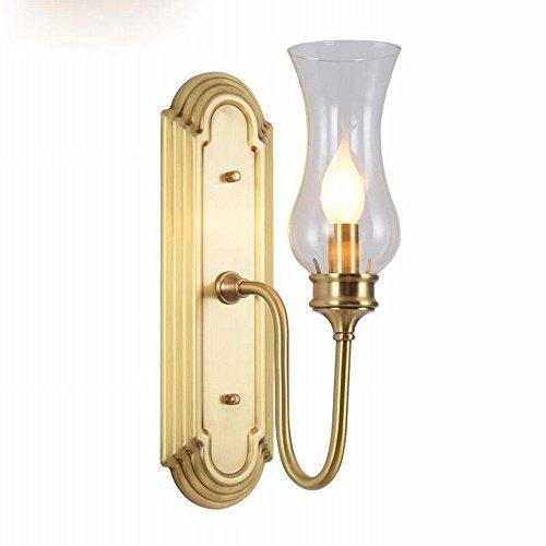 NFY eenvoudige glazen wandlamp Moderne persoonlijkheid creatieve woonkamer kaars koper mode gang bedlamp, A, enkel hoofd