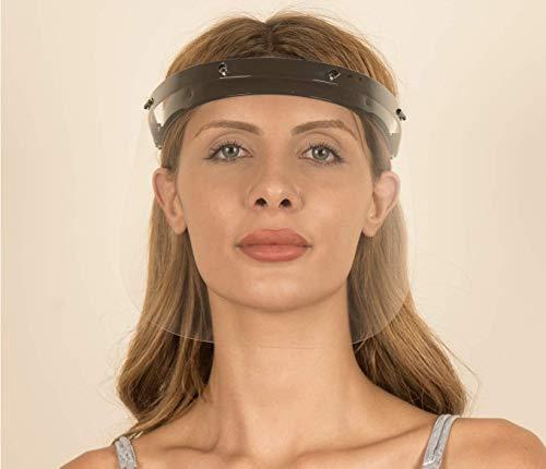 Königsart® Gesichtsschutz Visier aus Polycarbonat - 1 X Halter mit je 2 Wechselfolien- Face Shield - CE- Zertifiziertes Visier - Aufklappbares Gesichtsvisier für Männer/Frauen/Kinder - Schwarz