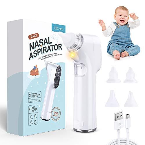 Aspiratore nasale per neonati, pulitore per naso elettrico Bichiro con 3 modalità di aspirazione e 4 punte riutilizzabili, ventosa con ricarica USB con luce a LED per neonati e bambini piccoli
