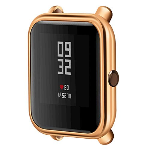 Compatible with Xiaomi Huami Amazfit Bip Youth/Lite Smartwatch Case, FunDiscount shop TPU Plated Cover Scratch-Resistant Protective Protector Bumper Compatible with Amazfit Bip Youth/Lite (Rose Gold)