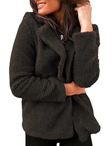 SOMTHRON dames teddy fleece reverskraag blazer V-hals kort open jas