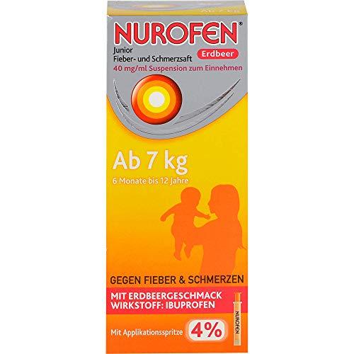 Nurofen Junior Fieber- und Schmerzsaft Erdbeere 4%, 150 ml Lösung