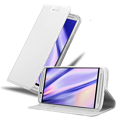 Cadorabo Hülle für ZTE Axon 7 Mini in Classy Silber - Handyhülle mit Magnetverschluss, Standfunktion & Kartenfach - Hülle Cover Schutzhülle Etui Tasche Book Klapp Style