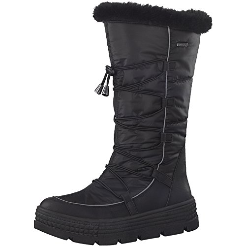 Tamaris Damen Winterstiefel 26631-31,Frauen Winter-Boots,Fellboots,Fellstiefel,wasserabweisend,Blockabsatz 5cm,Black,EU 38