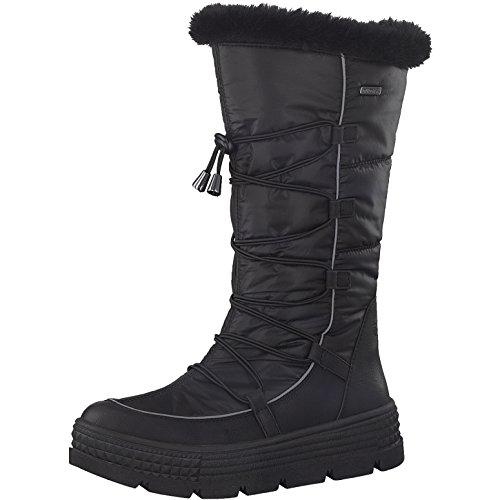 Tamaris Damen Winterstiefel 26631-31,Frauen Winter-Boots,Fellboots,Fellstiefel,wasserabweisend,Blockabsatz 5cm,Black,EU 40