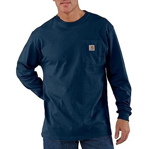 Carhartt Men's Workwear Pocket Long Sleeve T-Shirt Midweight Jersey Original Fit K126,Navy,XX-Large