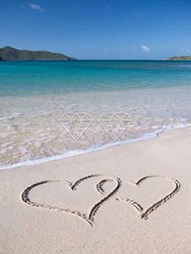 JXMK DIY Pintura Love Beach Seascape Luna Cascada Sin Marco Dibujo Lienzo con Pinceles Regalos de Pintura DIY para Adultos y niños 30x40cm