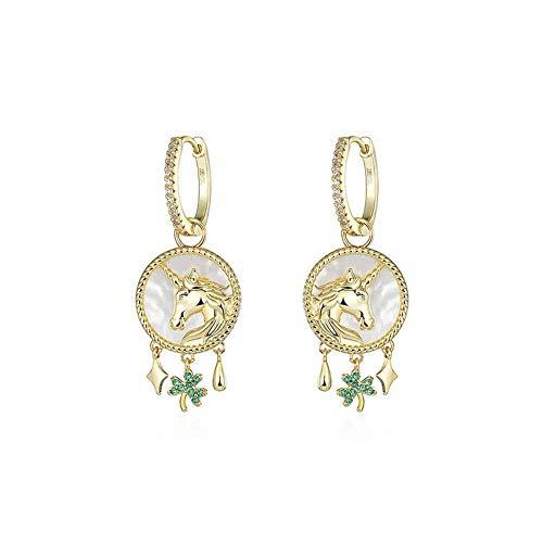 Wbeiba-aretes-Pendientes para mujer - pendientes de unicornio chapados en oro para damas 'accesorios