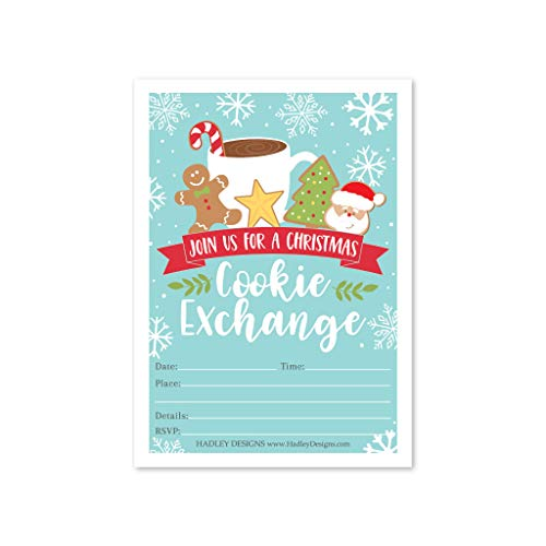 Hadley Designs 25 Cookie Exchange Swap Holiday Party Invitations, Christmas Xmas Invite, Winter Kids Adults Dinner Event Themed Card Ideas, Festive Baking Decorating Card Supplies, Printable Template