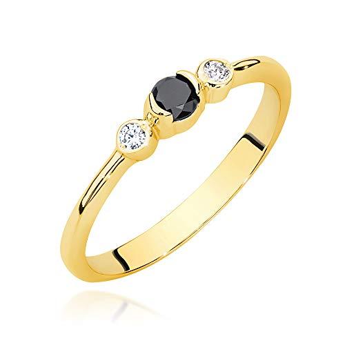 Anillo de mujer Zlocisto realizado en oro con diamantes negros talla brillante de 0,12 ct y diamantes blancos talla brillante de 0,06 ct H/Si Muestra de oro amarillo u oro blanco 585
