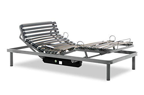 Gerialife® Cama Articulada Eléctrica Reforzada con Mando Inalámbrico (90x190, Plateado)
