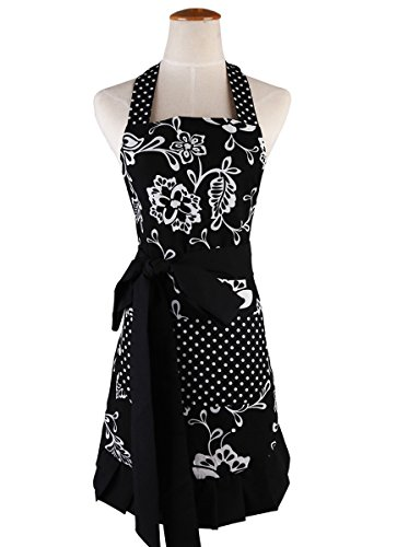 Surblue Womens Vintage Apron with 2 Pocket, Extra-Long Adjustable Tie Plus Size Apron for Cooking Home Baking Kitchen Mother's Gift,100% Organic Cotton Printing, Graceful and Flirty, Black XL (1 PC)