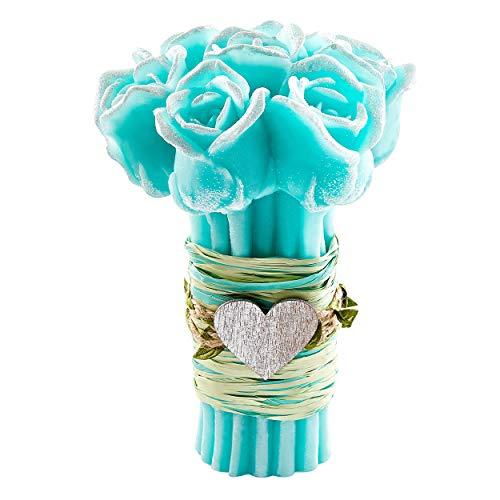 Grande Mazzo di Rose Turchese Aroma Fiori Freschi [ Candela profumata ] Fatto a Mano Aromaterapia Bomboniera Idea Regalo Rosa Bouquet Hand Made