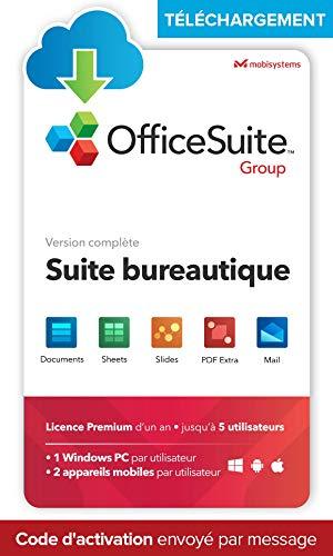OfficeSuite Group - TÉLÉCHARGEMENT/Licence en ligne - compatible avec Microsoft® Office Word®, Excel®, PowerPoint® et avec Adobe PDF pour PC Windows 10, 8.1, 8, 7 – Licence d'un an, 5 utilisateurs