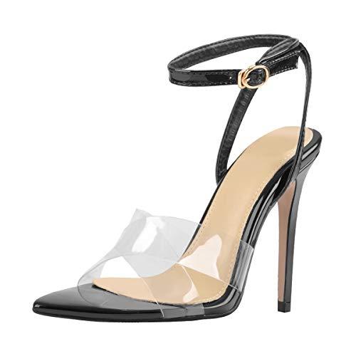 Onlymaker Women's Cross Strap Heels for Women Open Toe Clear Band Ankle Strap Slingback Dress Sandals Black Size 11