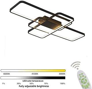 Lámpara de techo LED regulable con control remoto, lámpara moderna, diseño de espacio rectangular creativo, accesorio de iluminación interior (Negro, ◯)