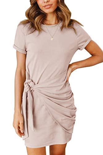 MEROKEETY Women's Short Sleeve Crew Neck T Shirt Dress Tie Waist Ruched Bodycon Mini Dress